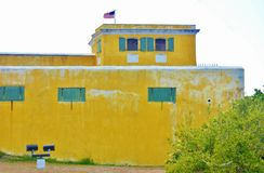 Fort christiansted st croix usvi watch tower usa flag Royalty Free Stock Photo