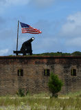 Fort Clinch State Park. Cannon and American flag at Fort Clinch State Park Florida Stock Image