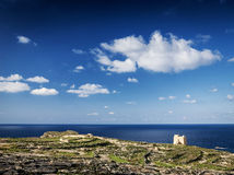 Fort and coast view of gozo island in malta Royalty Free Stock Images