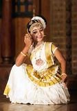 Beautiful Indian girl dancing Mohinyattam dance Stock Photos