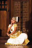 Beautiful Indian girl dancing Mohinyattam dance Royalty Free Stock Photography