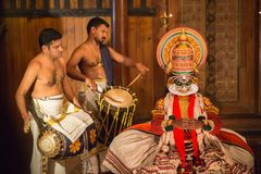 FORT COCHIN, India -  January 10, 2015: Kathakali. Performer in the virtuous pachcha green role in Cochin on January 10, 2015 in South India. Kathakali is the Royalty Free Stock Images