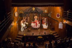 FORT COCHIN, India -  January 10, 2015: Kathakali. Performer in the virtuous pachcha green role in Cochin on January 10, 2015 in South India. Kathakali is the Royalty Free Stock Photography