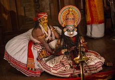 FORT COCHIN, India -  January 10, 2015: Kathakali. Performer in the virtuous pachcha green role in Cochin on January 10, 2015 in South India. Kathakali is the Royalty Free Stock Photo