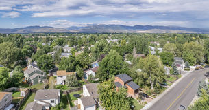 Fort Collins aerial view. Aerial panorama of residential area in Fort Collins, Colorado, with foothills of Rocky Mountains and Horsetooth Rock in background Royalty Free Stock Photo