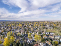 Fort Collins aerial view. Aerial view of Fort Collins residential area, typical along Colorado Front Range, late fall scenery Stock Photography