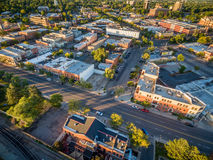 Fort Collins downtown aerial view Stock Photography