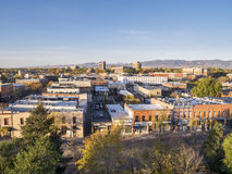 Fort Collins downtown. Aerial view of Fort Collins downtown in sunrise light, shot from a low flying drone Royalty Free Stock Photos