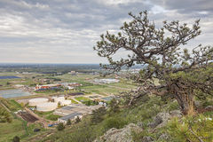 Fort Collins foothills. Foothils near Fort Collins, Colorado, with water plant, solar farm and university campus Stock Photo