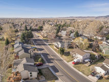 Fort Collins residential neighborhood from air Royalty Free Stock Photos
