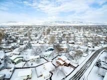 Fort Collins vintercityscape fotografering för bildbyråer