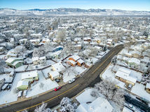 Fort Collins winter cityscape Royalty Free Stock Photo
