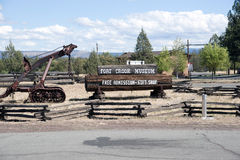 Fort Crook Museum. California with sign and machine artifact stock photo