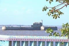 Fort d'île outre d'Inde de diu Photos libres de droits