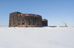Fort dżuma Widok od lodu zatoka Finlandia, Kronstadt Obrazy Royalty Free