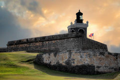 Fort de coucher du soleil d'EL Morro Photo stock