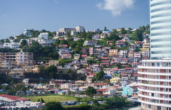 Fort-de-France Martinique city view. Fort-de-France Martinique colorful homes and offices on mountainside Royalty Free Stock Photography