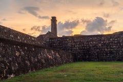 Fort de Galle, vue de la tour d'horloge au coucher du soleil Le Sri Lanka photographie stock libre de droits