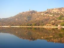 Fort de Jaigarh et lac Maota, Jaipur, Ràjasthàn, Inde Images libres de droits