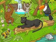Forêt de jungle avec le vecteur de bande dessinée d'animaux Images libres de droits
