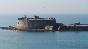 Fort de l'Ouest. Cherbourg Harbour a harbour in France, is believed to be the second largest artificial harbour in the world stock image