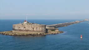 Fort de l'Ouest. Cherbourg Harbour a harbour in France, is believed to be the second largest artificial harbour in the world stock photos