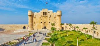 Fort de Qaitbay de ses remparts, l'Alexandrie, Egypte images libres de droits