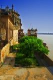 Fort de Ramnagar par le fleuve de Ganges Images libres de droits