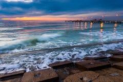Fort De Soto Gulf Pier after Sunset  Tierra Verde, Florida Stock Image