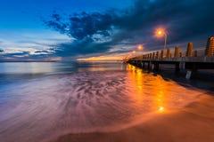 Fort De Soto Gulf Pier after Sunset  Tierra Verde, Florida Stock Images