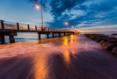 Fort De Soto Gulf Pier after Sunset  Tierra Verde, Florida Royalty Free Stock Images