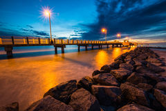 Fort De Soto Gulf Pier after Sunset  Tierra Verde, Florida Royalty Free Stock Image