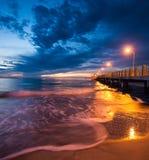 Fort De Soto Gulf Pier after Sunset  Tierra Verde, Florida Royalty Free Stock Photos