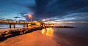 Fort De Soto Gulf Pier after Sunset  Tierra Verde, Florida Stock Photography