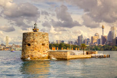 Fort Denison. Is a former penal site and defensive facility occupying a small island located about one kilometre east of the Opera House in Sydney Harbour, New Stock Photo