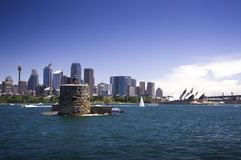 Fort Denison on Sydney Harbour. With the Sydney Opera House and the Sydney skyline in the background Stock Photo