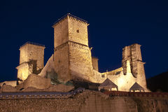 Fort of Diosgyor. Front view of Diósgyőr fort (Miskolc) by night in Hungary Royalty Free Stock Image