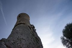 Fort du Mont Alban. Tower of famous fortress against blue sky, nice, france. stock image