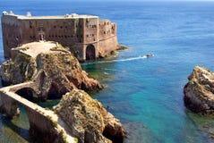 Fort in eiland Berlenga. Stock Foto