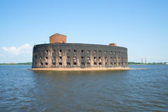 Fort Emperor Alexander I (The Plague) in the gulf of Finland. Kronstadt stock photo