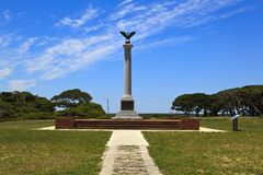 Fort Fisher Confederate Monument. At Kure Beach, North Carolina, built 1932. Bronze eagle on top stock images