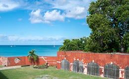 Fort Frederik - St. Croix-U.S. Virgin Islands. Fort Frederik - St. Croix - Museum grounds. The fort was named after Frederick V of Denmark. Extended view of sea Stock Photo