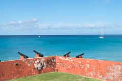 Fort Frederik - St. Croix-U.S. Virgin Islands. Fort Frederik - St. Croix - The fort was named after Frederick V of Denmark. Extended view of sea and sky with Royalty Free Stock Photography