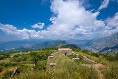 Fort Gorazda ruins and wide angle landscape view Stock Photography