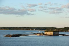 Fort Gorges. On Hog Island Ledge in Casco Bay, Portland, Maine as seen from the sea Stock Photo