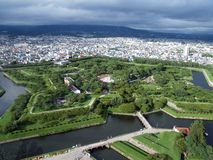 Fort Goryokaku, Hokkaido. The star shaped Fort Goryokaku was constructed in Hakodate, Hokkaido, as Japan's first Western style fortress. It is one of the famous Stock Photography