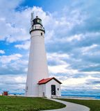 Fort Gratiot Lighthouse. The Fort Gratiot Lighthouse in Port Huron is the oldest lighthouse in the state of Michigan Stock Image