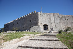 Fort in greece. Fort with very high walls in greece Stock Photos