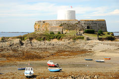 Fort Grey Guernsey. Martello tower (1804) at Fort Grey, Rocquaine Bay, Guernsey, Channel Islands Stock Photo