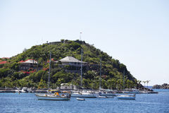 Fort Gustav overlooking Gustavia Harbor in St Barths Stock Photos